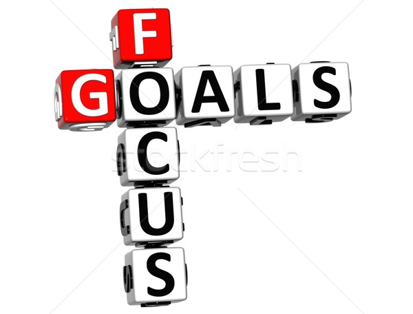 3D Focus Goals Crossword cube words Stock photo © Mariusz_Prusaczyk