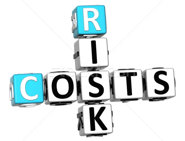 Stock photo: 3D Costs Risk Crossword cube words