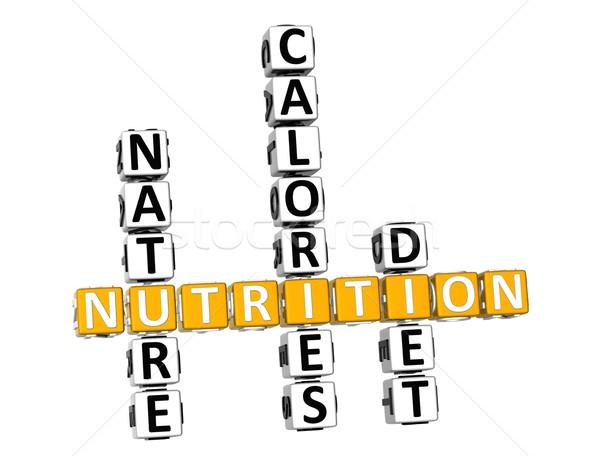 Foto stock: 3D · nutrição · saúde · dieta · palavras · cruzadas · branco