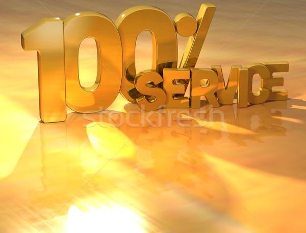 3D 100 procent dienst goud tekst Stockfoto © Mariusz_Prusaczyk