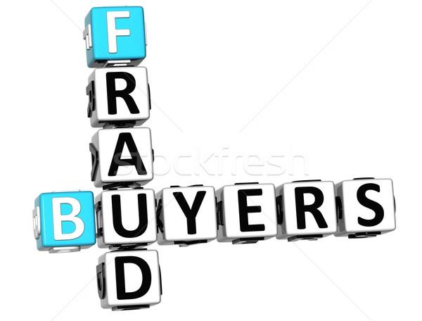 3D vásárlók csalás keresztrejtvény fehér zár Stock fotó © Mariusz_Prusaczyk