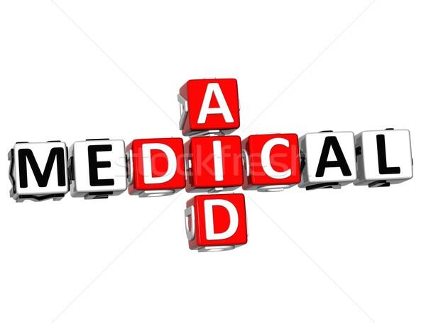 Foto stock: 3D · médicos · ayuda · crucigrama · botón · texto