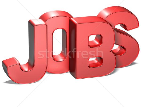 3D Word Jobs on white background Stock photo © Mariusz_Prusaczyk