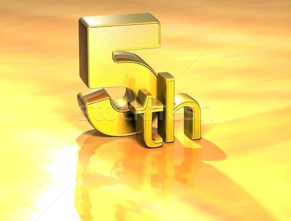 Stock photo: 3D Word Fifth on gold background