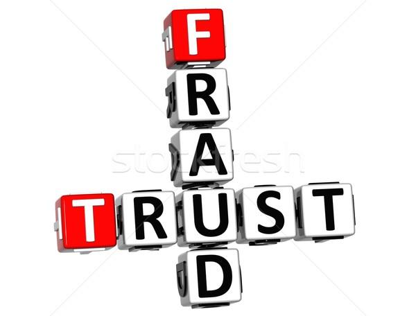 3D confie fraude palavras cruzadas branco trancar Foto stock © Mariusz_Prusaczyk