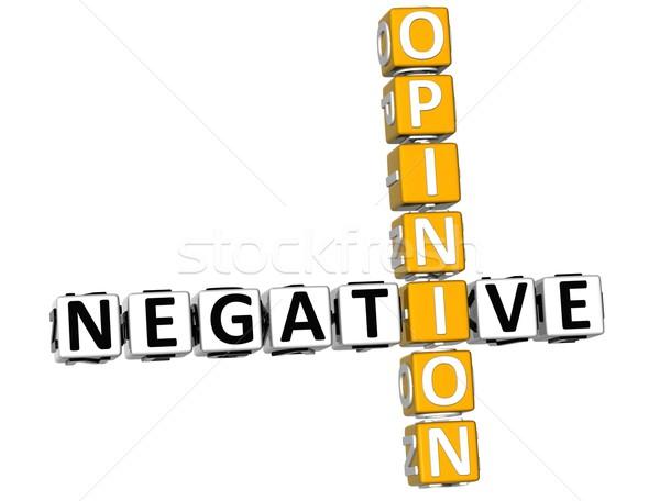 3D negativos opinión crucigrama blanco feliz Foto stock © Mariusz_Prusaczyk
