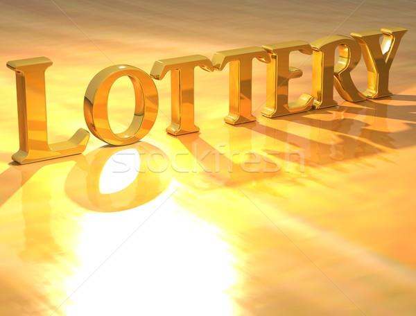 3D лотерея золото текста желтый интернет Сток-фото © Mariusz_Prusaczyk