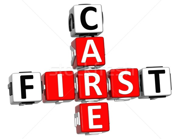 3D First Aid Care Crossword Block Button text Stock photo © Mariusz_Prusaczyk
