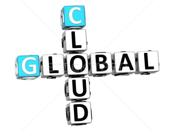 Stock photo: 3D Global Cloud Job Crossword cube words