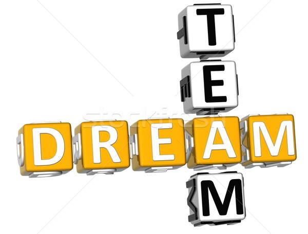 3D droom team kruiswoordraadsel witte kantoor Stockfoto © Mariusz_Prusaczyk