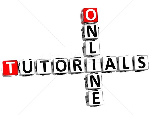 Stockfoto: 3D · online · kruiswoordraadsel · witte · netwerk · web