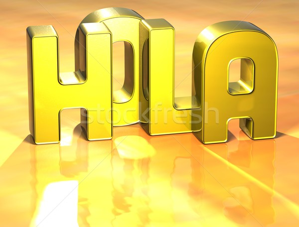 3D Word Hello In Spanish Language on yellow background Stock photo © Mariusz_Prusaczyk