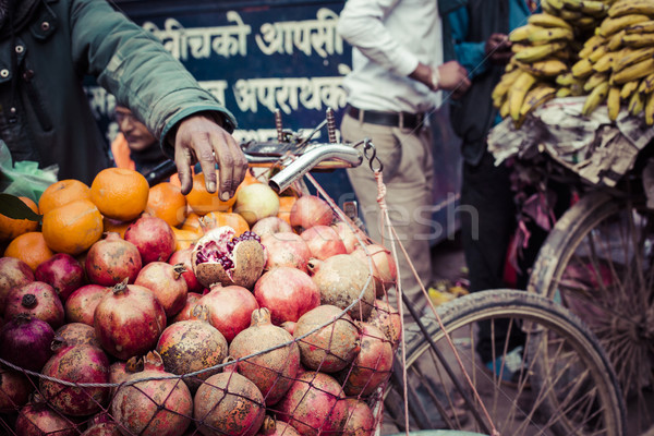 The hawker sell his fruits in Thamel in Katmandu, Nepal. Stock photo © Mariusz_Prusaczyk