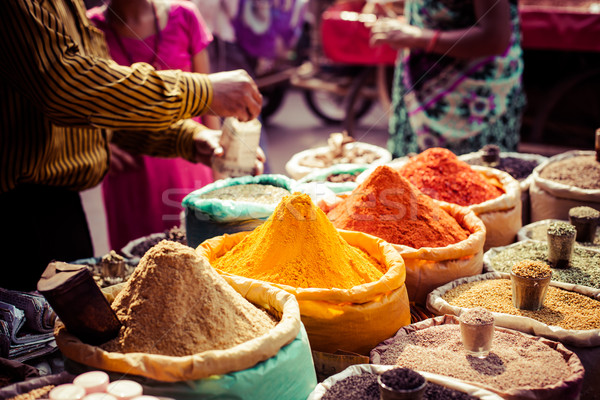 Traditional spices and dry fruits in local bazaar in India.  Stock photo © Mariusz_Prusaczyk