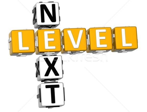 3D volgende niveau kruiswoordraadsel witte kruis Stockfoto © Mariusz_Prusaczyk