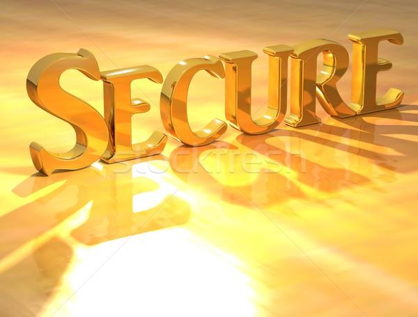 Zdjęcia stock: 3D · bezpieczne · złota · tekst · żółty · bezpieczeństwa