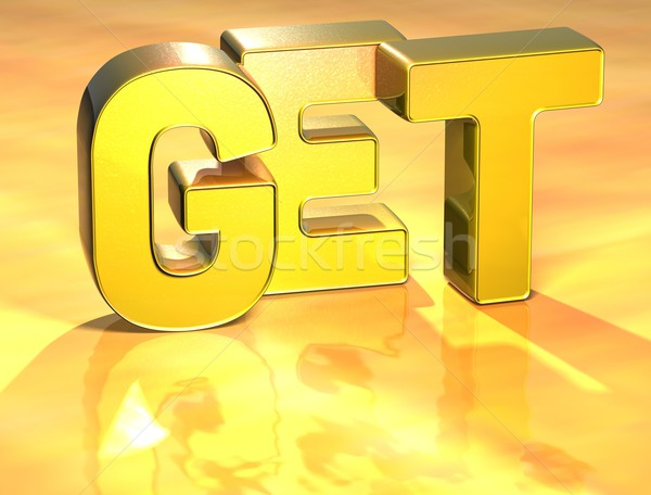 3D Word Get on gold background Stock photo © Mariusz_Prusaczyk