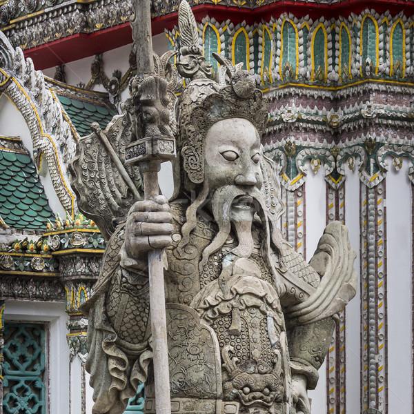 Stok fotoğraf: Heykel · Çin · savaşçı · giriş · budist · tapınak