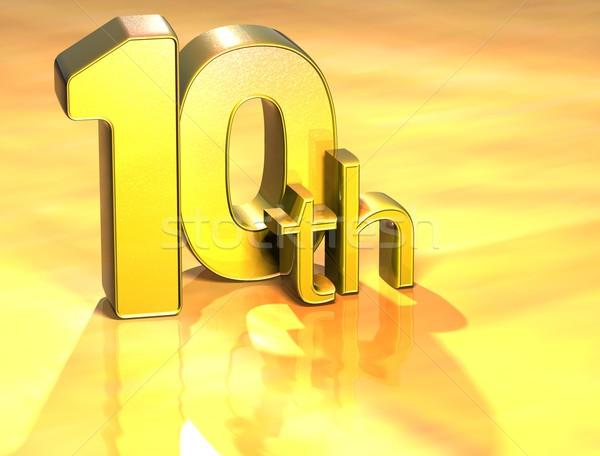 3D Word Tenth on gold background Stock photo © Mariusz_Prusaczyk