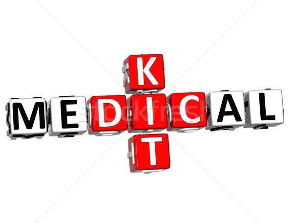 Foto d'archivio: 3D · medici · kid · cruciverba · pulsante · testo