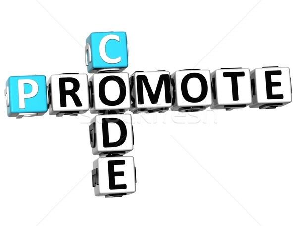 3D Promote Code Crossword cube words Stock photo © Mariusz_Prusaczyk