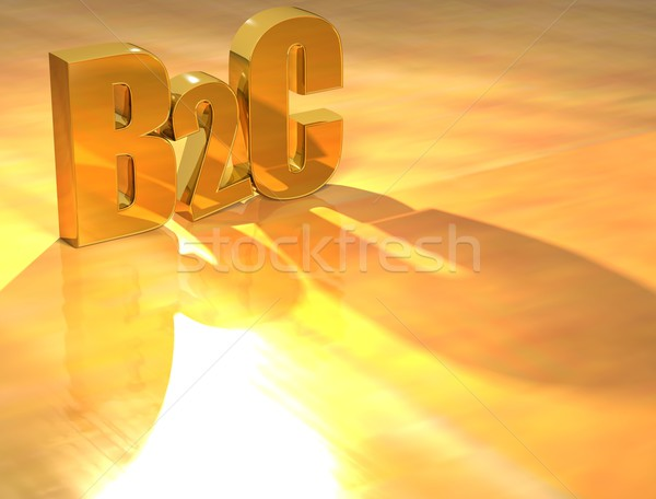 3D B2C Gold text  Stock photo © Mariusz_Prusaczyk