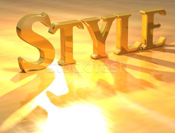 Stok fotoğraf: 3D · stil · altın · metin · sarı · iş