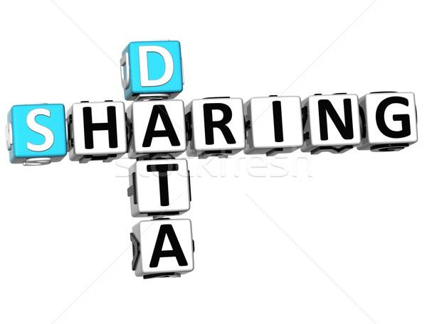 3D Sharing Data Crossword cube words Stock photo © Mariusz_Prusaczyk