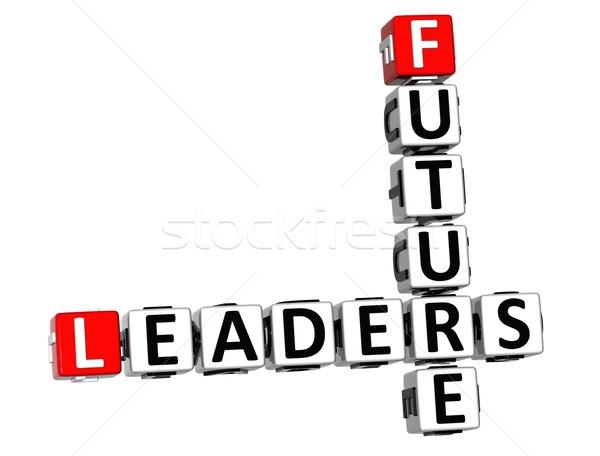 Stockfoto: 3D · toekomst · leiders · kruiswoordraadsel · witte · vak