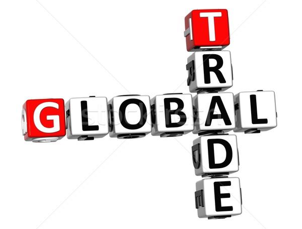 3D Global Trade Crossword text Stock photo © Mariusz_Prusaczyk