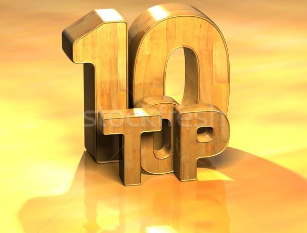 3D Word Top 10 on yellow background Stock photo © Mariusz_Prusaczyk