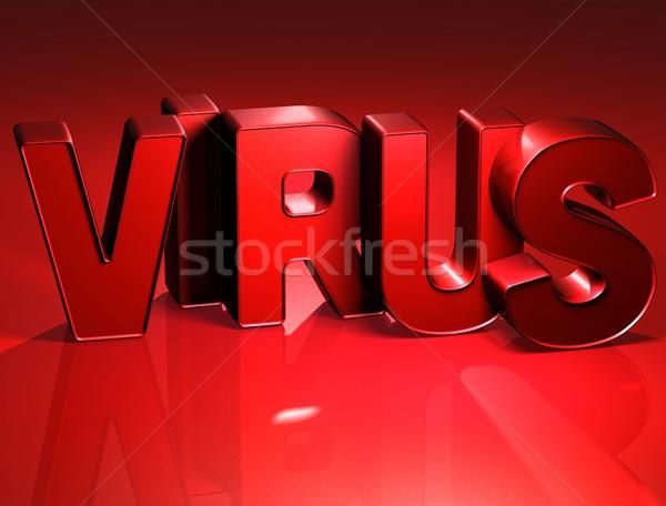 3D Word Virus on red background Stock photo © Mariusz_Prusaczyk