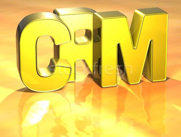 3D Word CRM on gold background Stock photo © Mariusz_Prusaczyk