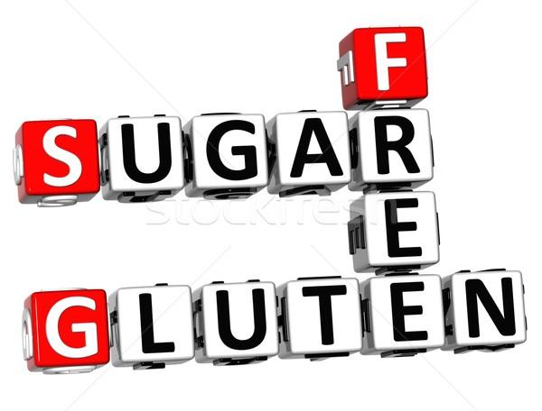 3D gluten suiker gratis kruiswoordraadsel kubus Stockfoto © Mariusz_Prusaczyk
