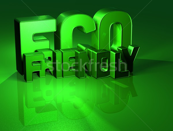 3D Word Eco Friendly on green background Stock photo © Mariusz_Prusaczyk