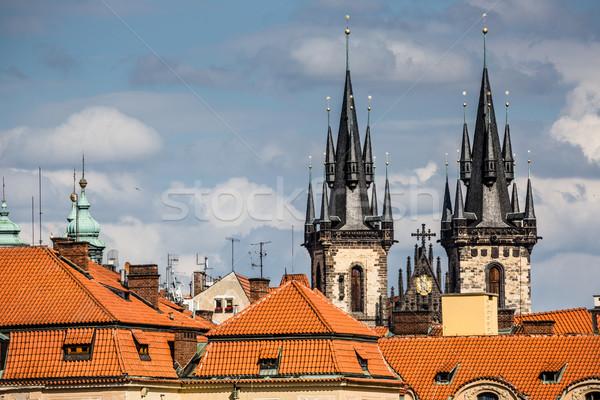 View chiesa Praga cielo costruzione blu Foto d'archivio © Mariusz_Prusaczyk