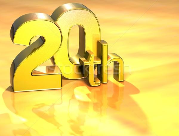 3D Word Twentieth on gold background Stock photo © Mariusz_Prusaczyk