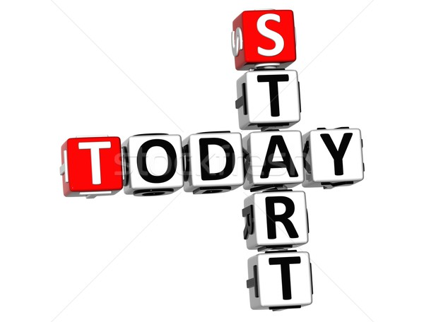 Stock photo: 3D Start Today Crossword