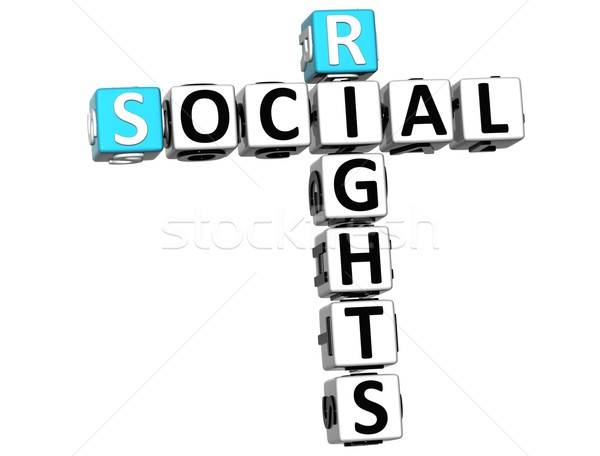 3D social direitos palavras cruzadas cubo palavras Foto stock © Mariusz_Prusaczyk