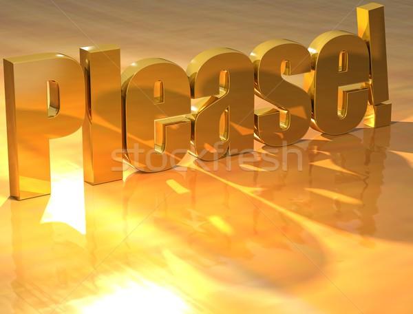 3D Please Gold text  Stock photo © Mariusz_Prusaczyk