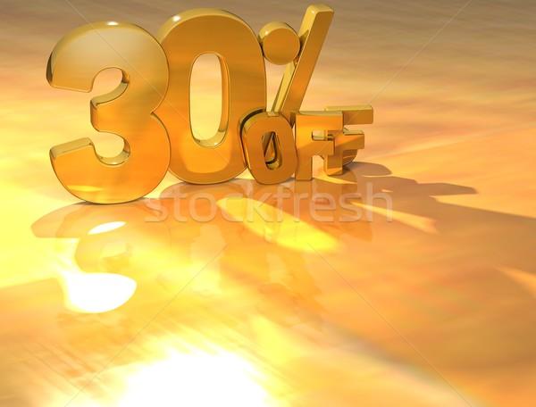 Stok fotoğraf: 3D · 30 · yüzde · altın · metin · sarı