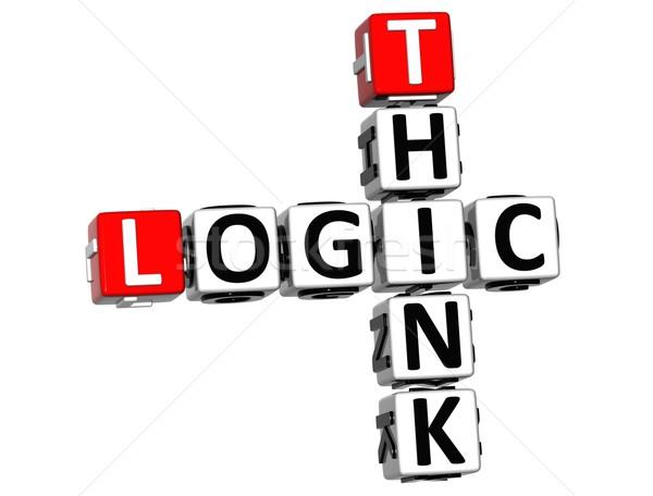 3D gondolkodik logika keresztrejtvény fehér üzlet Stock fotó © Mariusz_Prusaczyk