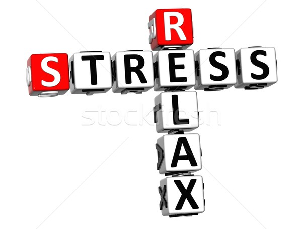 Stock photo: 3D Stress Relax Crossword cube words