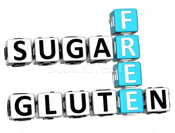 Stock fotó: 3D · glutén · cukor · szabad · keresztrejtvény · kocka