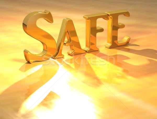 Zdjęcia stock: 3D · bezpieczne · złota · tekst · żółty · świetle