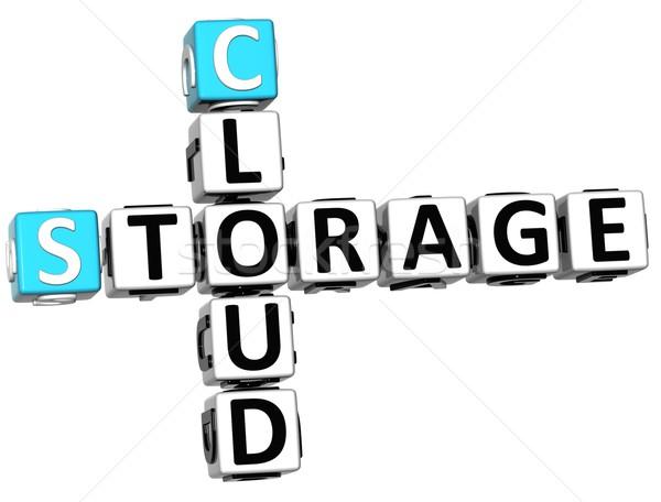 Stockfoto: 3D · opslag · wolk · kruiswoordraadsel · kubus · woorden