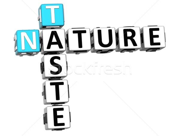 3D gosto natureza palavras cruzadas texto branco Foto stock © Mariusz_Prusaczyk