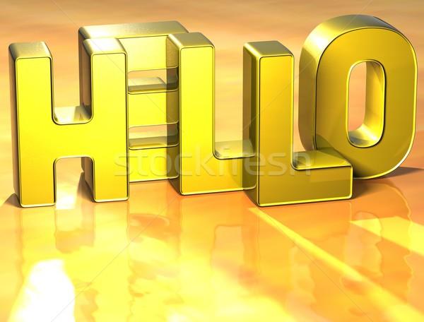3D Word Hello on yellow background Stock photo © Mariusz_Prusaczyk