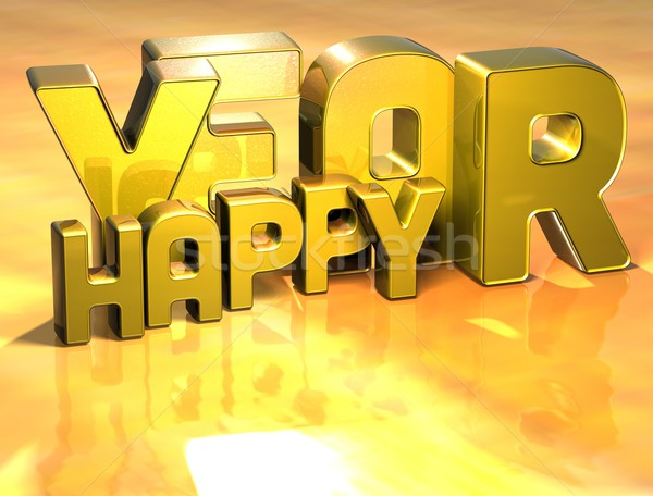 3D Word Happy Year on gold background Stock photo © Mariusz_Prusaczyk