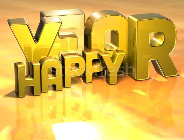 3D Wort glücklich Jahr Gold Design Stock foto © Mariusz_Prusaczyk